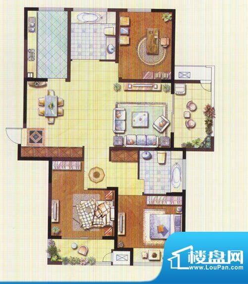 聚湖雅苑户型图11#A户型 3室2厅面积:131.26平米
