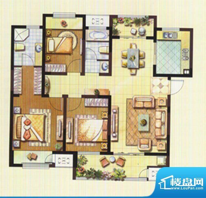 聚湖雅苑户型图11#C户型 3室2厅面积:128.39平米