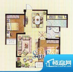 聚湖雅苑户型图11#B户型 2室2厅面积:87.95平米