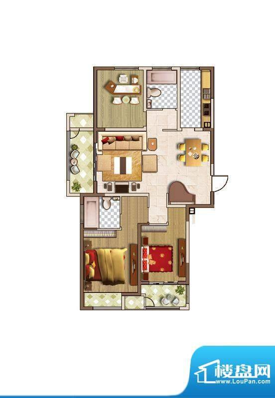 聚湖雅苑户型图A户型 3室2厅2卫面积:129.00平米