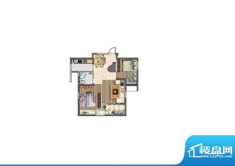 聚湖雅苑户型图B户型 2室2厅1卫面积:87.00平米