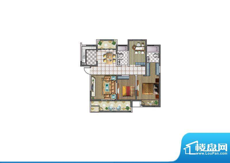 聚湖雅苑户型图C户型 3室2厅2卫面积:127.00平米