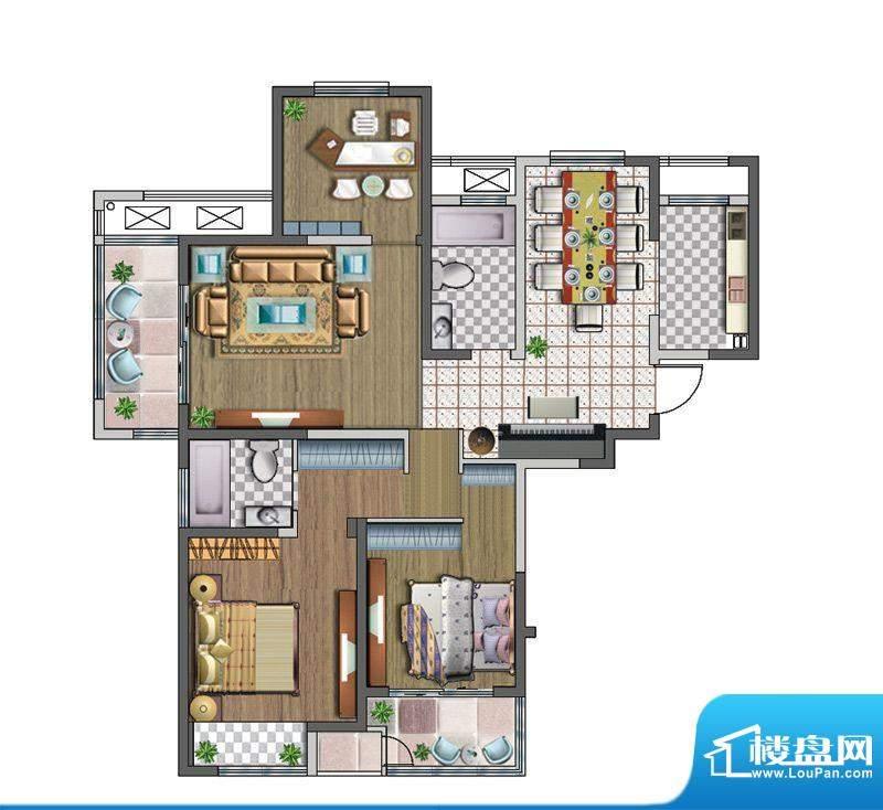 聚湖雅苑户型图D户型 3室2厅2卫面积:128.47平米