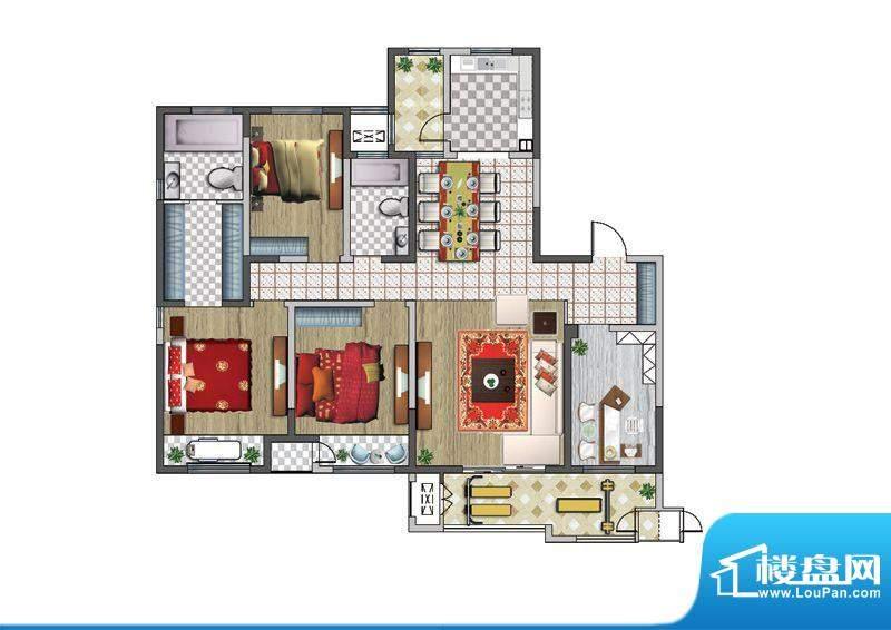 聚湖雅苑户型图E户型 4室2厅2卫面积:174.00平米