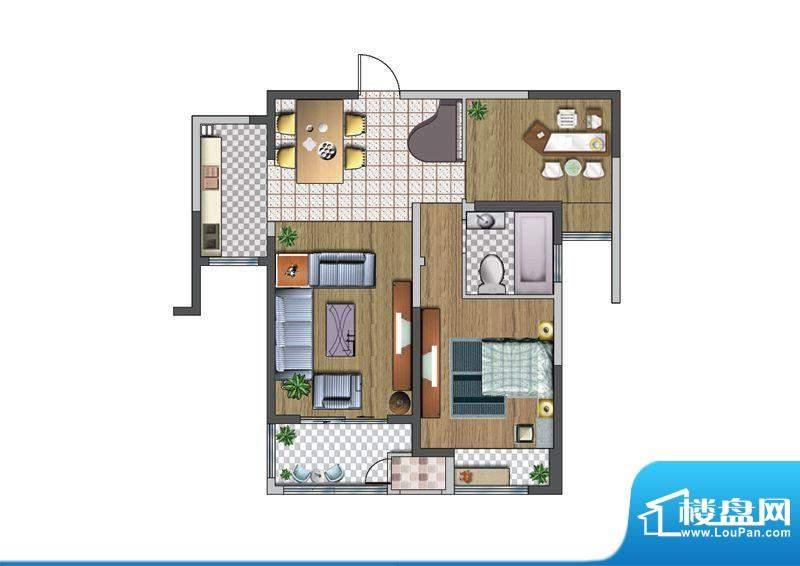 聚湖雅苑户型图F户型 2室2厅1卫面积:88.07平米