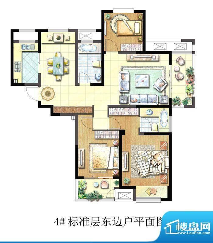 聚湖雅苑户型图4#D户型 3室2厅面积:128.47平米