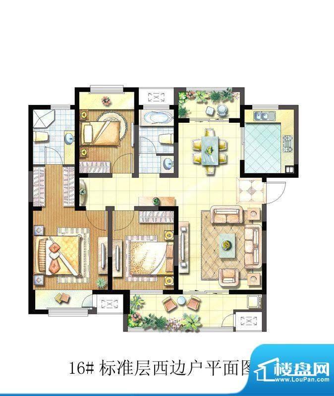 聚湖雅苑户型图16#C户型 3室2厅面积:127.07平米