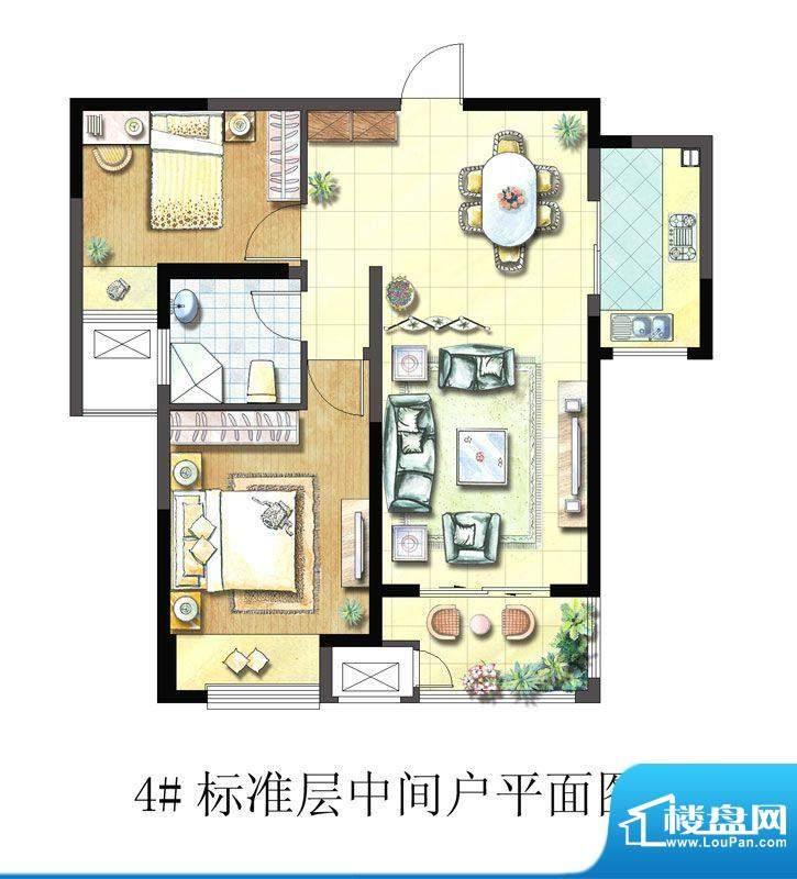 聚湖雅苑户型图4#F户型 2室2厅面积:88.18平米