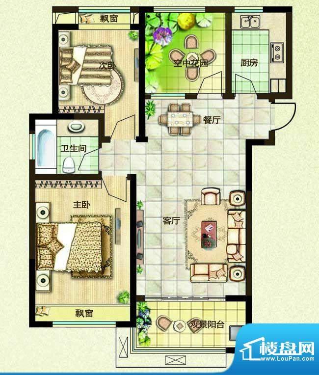 绿都万和城户型图2e户型 2室2厅面积:96.00平米