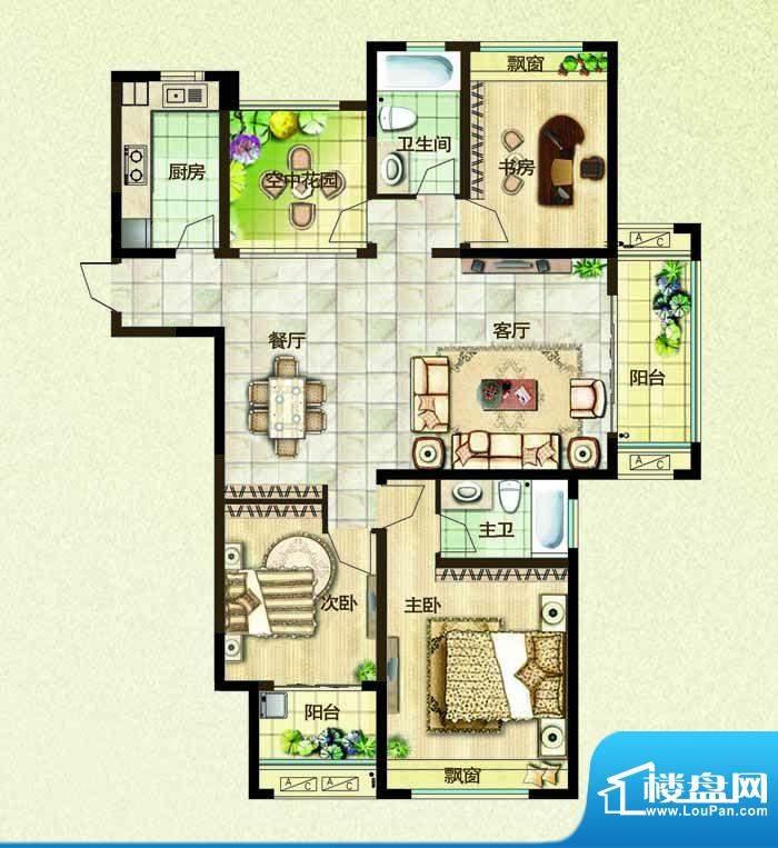 绿都万和城户型图高层3E户型 2面积:139.00平米
