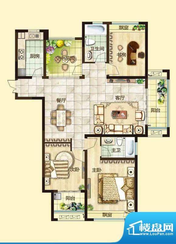 绿都万和城户型图3E户型 3室2厅面积:136.00平米