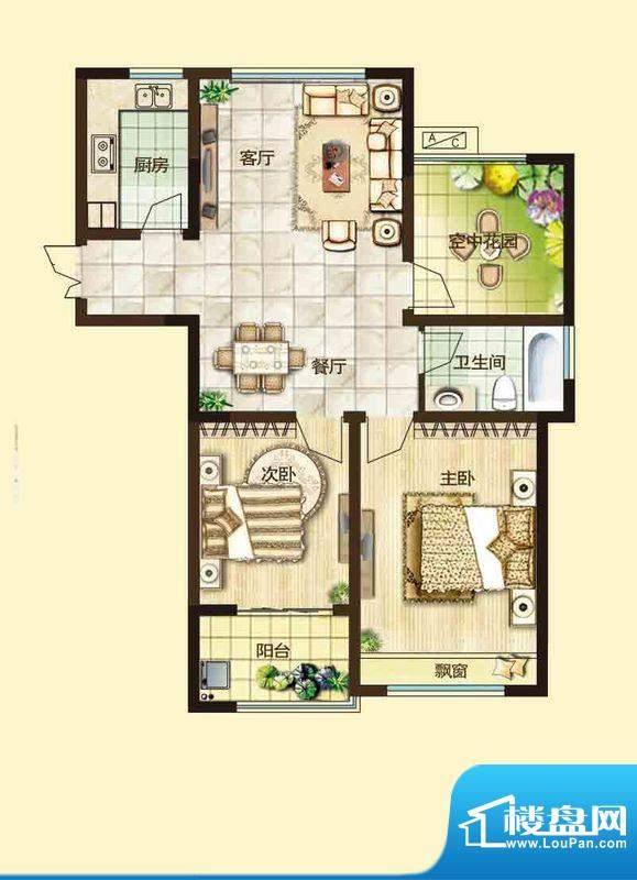 绿都万和城户型图2D户型 2室2厅面积:94.00平米