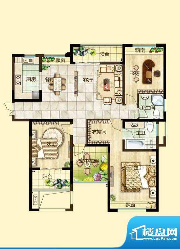绿都万和城户型图3D户型 3室2厅面积:134.00平米