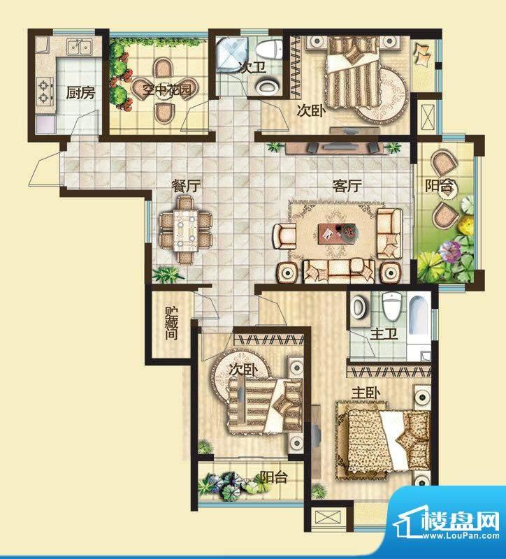 绿都万和城户型图二期3C户型 3面积:134.00平米