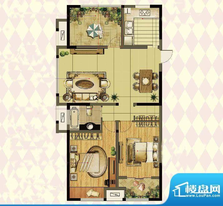 港龙紫荆城户型图2期E1户型 3室面积:120.00平米