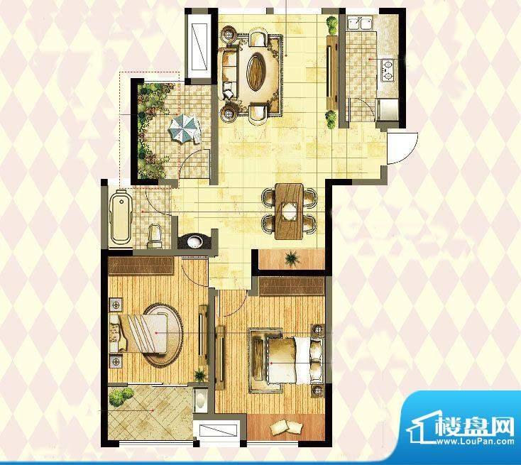 港龙紫荆城户型图2期E3户型 3室面积:105.00平米