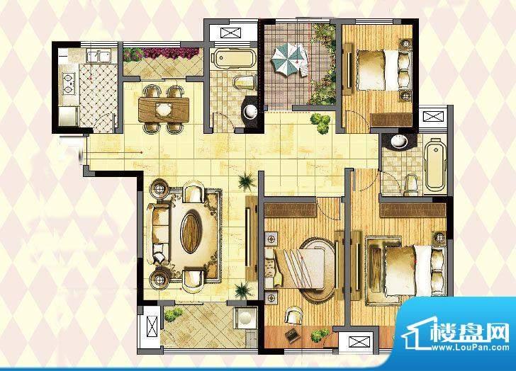 港龙紫荆城户型图2期F1户型 4室面积:142.00平米