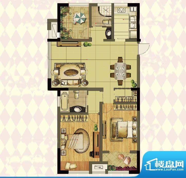 港龙紫荆城户型图2期F2户型 3室面积:117.00平米