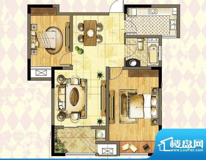 港龙紫荆城户型图2期G1户型 2室面积:89.00平米