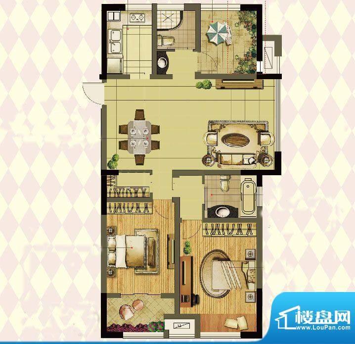 港龙紫荆城户型图2期G2户型 3室面积:117.00平米