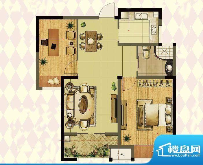 港龙紫荆城户型图E2户型 2室2厅面积:89.00平米