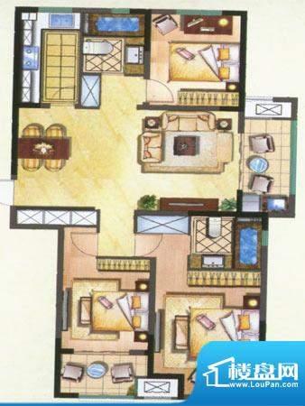 新城公园壹号户型图A 3室2厅2卫面积:123.00平米