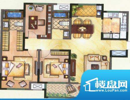 新城公园壹号户型图C 3室2厅2卫面积:131.00平米