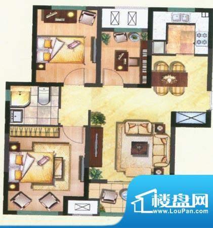 新城公园壹号户型图D 3室2厅1卫面积:93.00平米