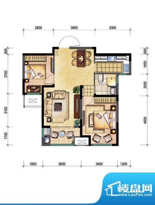 新城公园壹号户型图B 2室2厅1卫面积:76.00平米