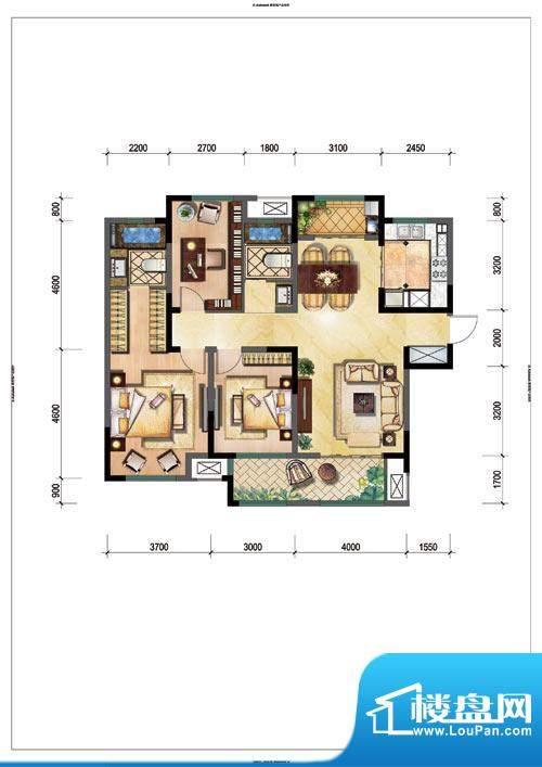 新城公园壹号户型图C 3室2厅2卫面积:123.00平米