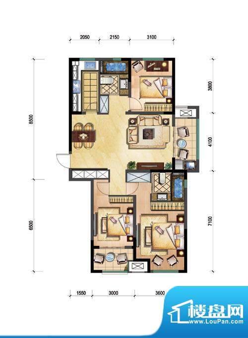 新城公园壹号户型图A 3室2厅2卫面积:120.00平米
