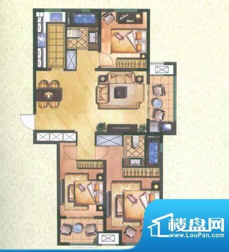 新城公园壹号户型图润园A 3室2面积:120.77平米