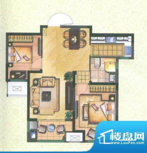 新城公园壹号户型图润园B 2室2面积:76.33平米