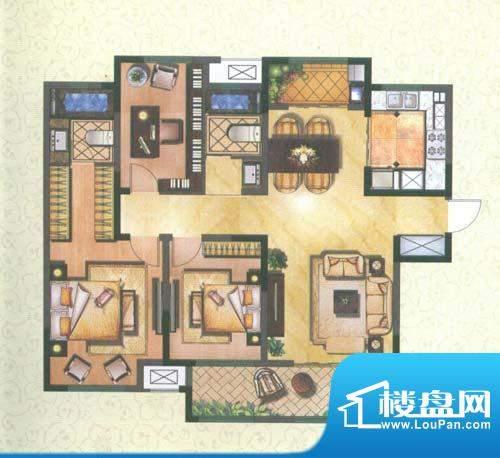 新城公园壹号户型图润园C 3室2面积:123.61平米