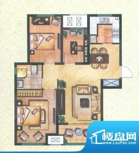 新城公园壹号户型图润园D 3室2面积:93.38平米