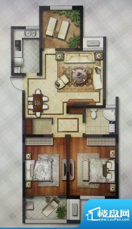 龙东香珀户型图C户型 3室2厅1卫面积:108.35平米