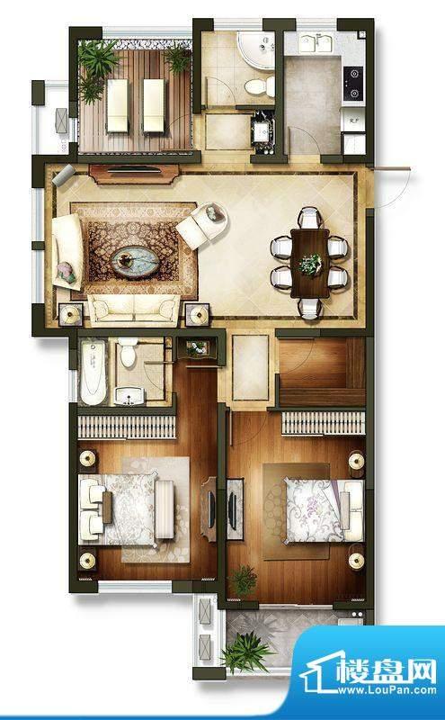 龙东香珀户型图4#楼户型 3室2厅面积:125.00平米