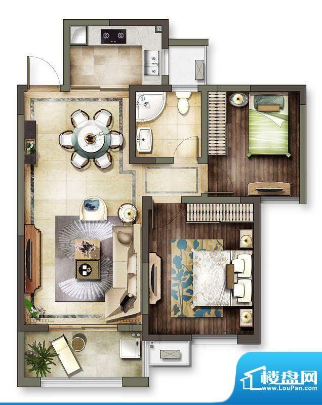 龙东香珀户型图4#楼户型 2室2厅面积:83.00平米