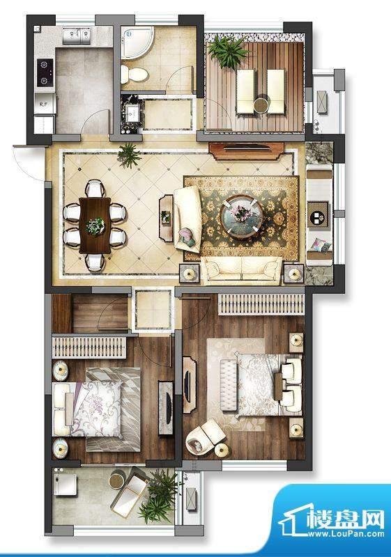 龙东香珀户型图4#楼户型 3室2厅面积:108.00平米