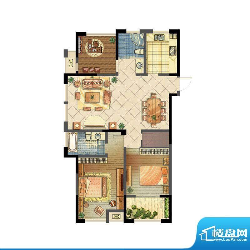 龙东香珀户型图1#楼A4户型 2室面积:125.00平米