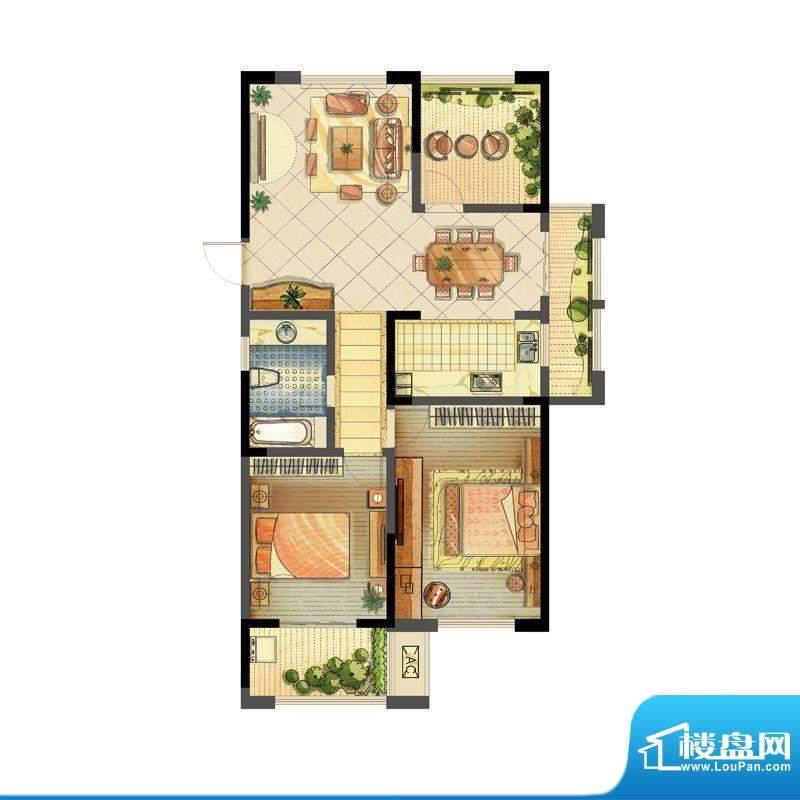 龙东香珀户型图1#楼A1户型 2室面积:113.00平米