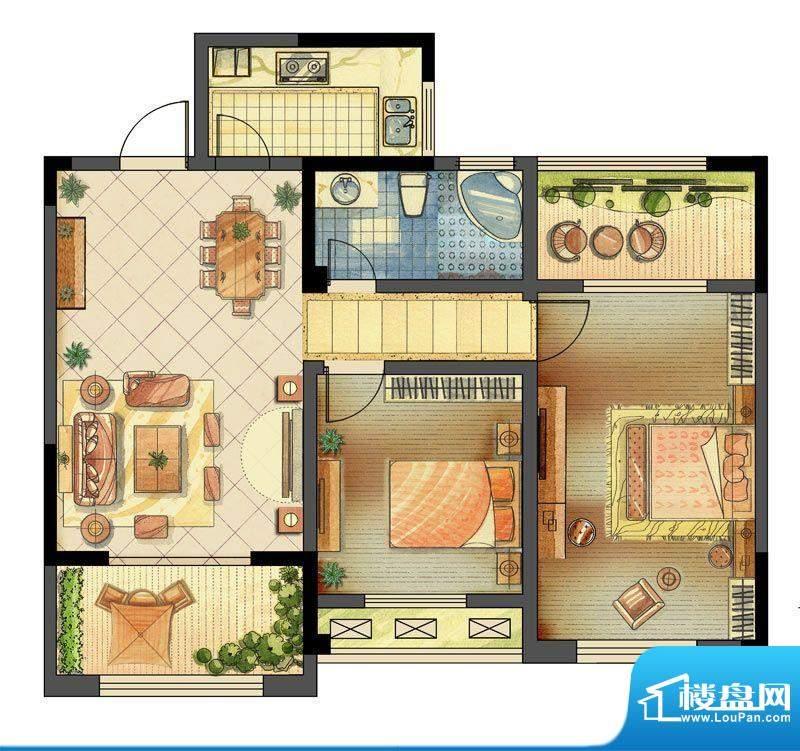 龙东香珀户型图1#楼A2户型 2室面积:90.00平米