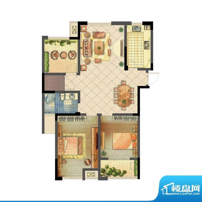 龙东香珀户型图1#楼A3户型 2室面积:112.00平米