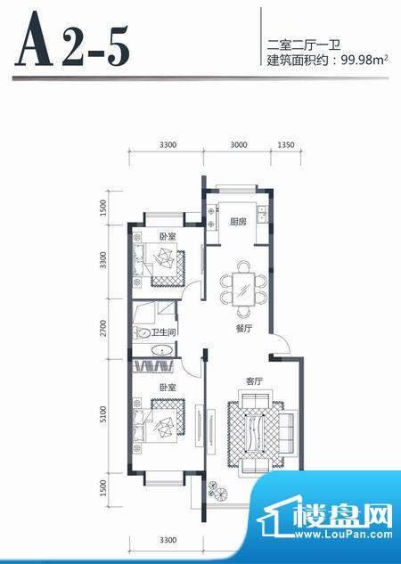 印象江南A25 2室2厅面积:99.98m平米