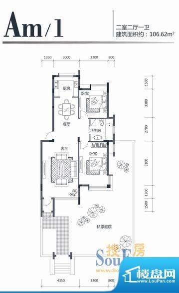 印象江南AM1 2室2厅面积:106.62m平米