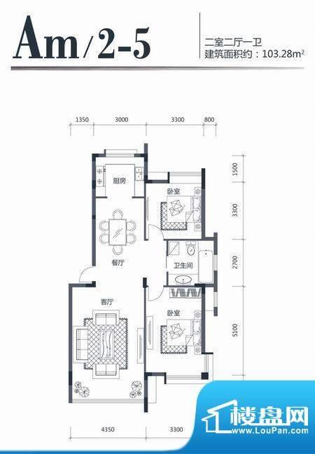 印象江南AM25 2室2厅面积:103.28m平米