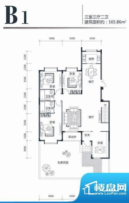 印象江南B1 3室3厅2面积:165.86m平米