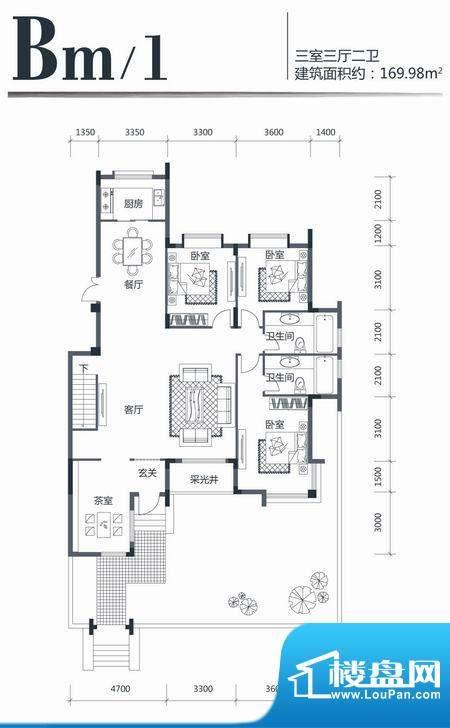 印象江南Bm1 3室3厅面积:169.98m平米