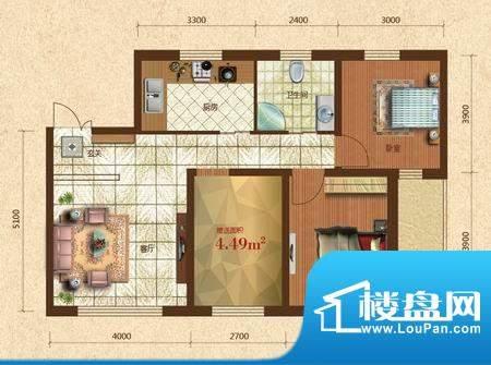 六合·龙城国际F户型面积:88.50m平米