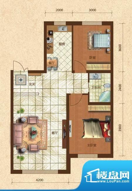 六合·龙城国际H户型面积:95.00m平米